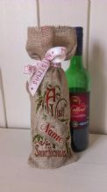 Personalized Vist from St Nick Wine Father Christmas Xmas Santa Sack / Stocking Bag Jute Hessian